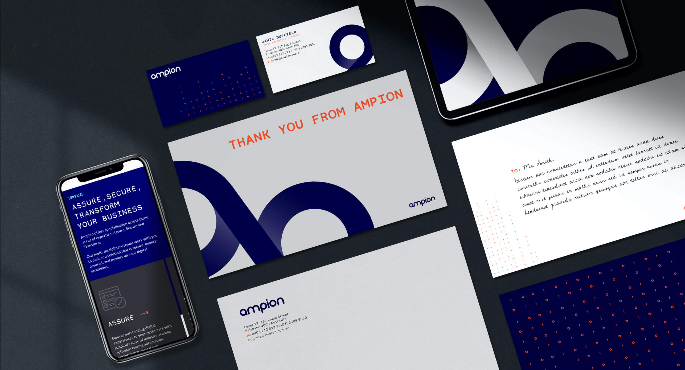 Ampion branded mobile screen, business cards, letterheads and other designs.